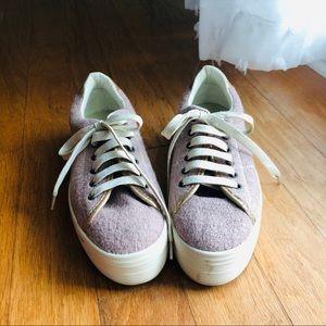 """Anthro """"No Name"""" Lavendar & Gold Platform Shoes"""